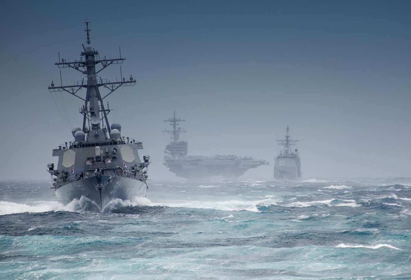 naval-warship-and-aricraft-carrier-on-choppy-sea